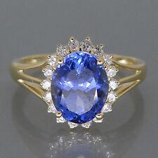 585er gelbes Gold 2,45KT Natürlich blau Tansanit EGL Zertifiziert Diamant Ring