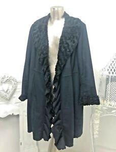 Ladies Dennis Basso Long Black Faux Shearling Waterfall/Ruffle Coat Size XL 18