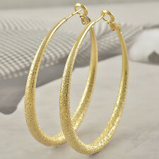 Womens Gorgeous 9K Real Yellow Gold Filled Huggies Frosted Hoop Earrings