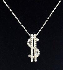"10k White Gold Diamond Dollar Sign on 18"" Fine Chain"