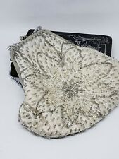 Vintage Fine Arts Bag Silver White All Beaded  Evening Purse Clutch Kiss Lock