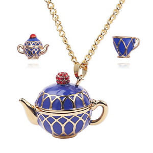 Teapot Pendant Long Chain Necklace Enamel Choker Jewelry Accessories Gifts Women