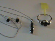 Midnight Blue Sapphire Ring Size 5.25, Earrings & Pendant Set in Sterling Silver