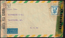 161 Brazil To Us Censored Air Mail Cover 1945 Two Censors Sao Paulo - Baltimore