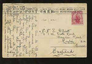 NEW ZEALAND 1919 PANAMA PPC CONTINUOUS SLOGAN CANCEL RETURNED SOLDIERS WANT WORK
