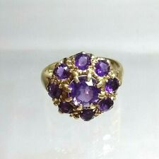 Vintage Statement Genuine 9ct gold Amethyst Cluster ring Simply Stunning