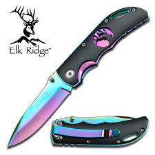 Elk Ridge Rainbow Folding Knife with Pocket Clip ER-134RB