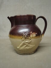 Antique English Stoneware Pitcher 2 Tone With Applied Raised Relief Design