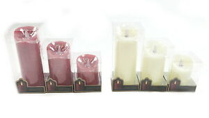 Battery Powered Red or Ivory Flicker Real Wax Pillar Church Candle Light Display