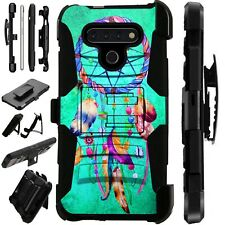 Luxguard For LG Phone Case Holster Kickstand Cover TEAL DREAMCATCHER