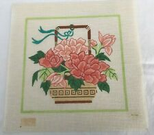 """Vintage Needlepoint Canvas Oriental Basket with Flowers  9 3/4"""" Square"""