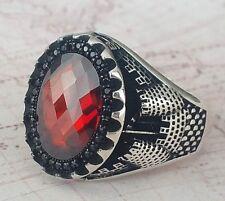 Castle Turkish Ottoman Red Garnet Gemstone 925 Sterling Silver Mens Ring