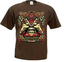 T Shirt braun Hot Rod-,US Car& `50 Stylemotiv Modell Lucky 7 Hot Babes