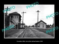 OLD LARGE HISTORIC PHOTO OF CARROTHERS OHIO, THE RAILROAD DEPOT STATION c1940