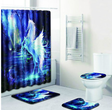 Unicorn Blue Black & White Bathroom Shower Curtain Toilet Seat Cover Rug Set