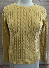 LL Bean Yellow Womens Cotton Sweater Pullover Jumper Cable Knit Crew Neck S