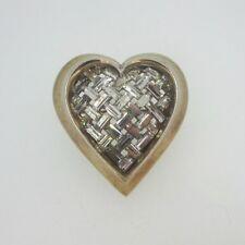 Crisscross Design Heart Pin Brooch Vintage Trifari Gold Tone Rhinestone Baguette