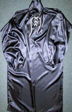 Vintage: Satin! Navy Blue Acetate Satin Balloon Shirt Style Gown
