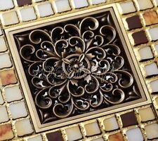 Antique Brass Retro Carved Floor Drain Square Washer Shower Waste Drainer shr013
