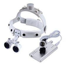 Dental Surgical Glasses Binocular Loupes 3.5X-R White + LED Headlight Silver