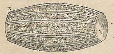 A4301 Cilindro con scrittura sacra - Incisione - Stampa Antica del 1887