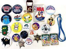 Vintage Buttons Pins Badges Retro Disney Batman Peanuts Sheriff WCW Wrestling