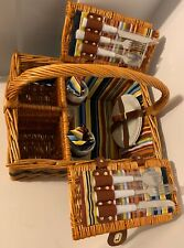 Picnic Basket Set For 2 With Accessories- Multicolor Stripes Interior