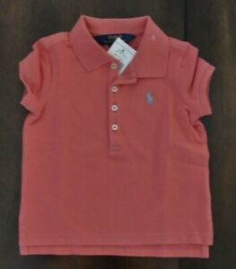 NWT Ralph Lauren Girl's S/S Long Placket Stretch Mesh Polo Shirt Sz 5 NEW $30