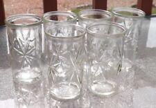6 Vintage Ball Anchor Hocking Star Burst 4oz Glass Jelly Jars Juice Tumblers MCM