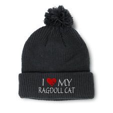 Pom Pom Beanies for Women I Love My Ragdoll Cat Embroidery Acrylic Skull Cap
