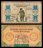 NETHERLANDS INDIES 2 1/2 GULDEN 1940 CE    PICK # 109a VF+