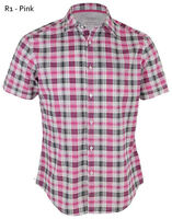 ESPRIT Mens Regular Short Sleeve Check Shirts Casual Cotton Shirt Pink S