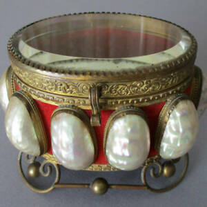 Antique French VICTORIAN Mother of Pearl MOP SHELL Beveled GLASS + Brass CASKET