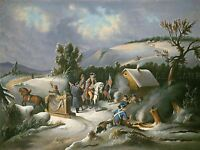 AMERICAN 19TH CENTURY WASHINGTON VALLEY FORGE OLD ART PAINTING POSTER BB4852A