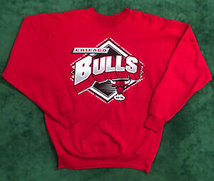 Chicago Bulls NBA Hardwood Classics Logo Pullover Retro Crewneck Sweatshirt M