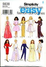 Simplicity Sewing Pattern 9838 Barbie Fashion Doll Retro Clothes Dress Jumpsuit