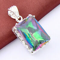 Top Fashion Vintage Silver Rainbow Mystical Topaz Gemstone Necklace Pendant