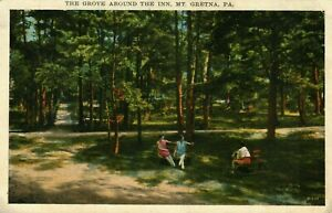 The Grove Around The Inn MT. Gretna P.A. Posted 1932 Washington Right Face Stamp