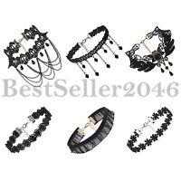 6pcs Gothic Punk Women's Black Velvet Tattoo Lace Choker Collar Necklace Retro