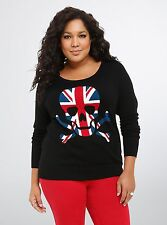 Torrid Rebel Skull Union Jack Raglan Black Sweater Size: 1 1X  #23103