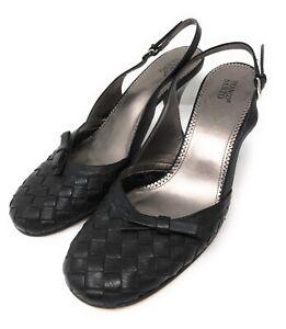 Franco Sarto Heel Size 9M Womens Black Leather Weaved Sling Back Shoe Brazil