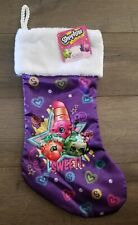 "New 19"" Shopkins Christmas Stocking Sparkly Glittery Strawberry Lipstick Apple"