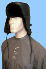 NEW MENS GENUINE BLACK MINK AND LEATHER TROOPER FUR HAT 25 inch