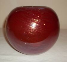RUSTY RED AND COOPER SWIRL DESIGN ON BLOWN GLASS BOWL