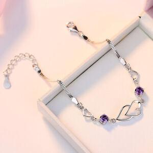 Beautiful Heart Linked Bracelet 925 Sterling Silver Women's Jewellery Gift UK