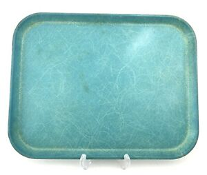 Vtg Rectangle Cafeteria Food Serving Tray Fiberglass Turquoise Blue Atomic/MCM