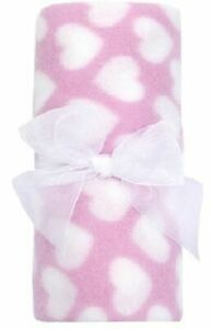 Babytown New Baby Boutique Soft Warm Fleece Blanket Shawl PINK HEARTS Girls
