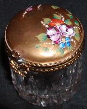 Peint Main Limoges Porcelain Crystal Hand Painted Pill Trinket Box