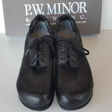 P.W. Minor PILLOW BACK 10091 Women's 10 2A Black Leather Lace Up Orthopedic Shoe