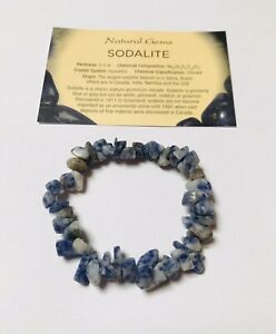 Sodalite Gemstone Chip Bracelet with free organza bag and crystal card